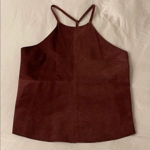 Gorgeous red real suede halter tank top